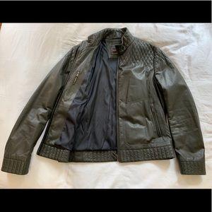 Dark green leather Canali Jacket.